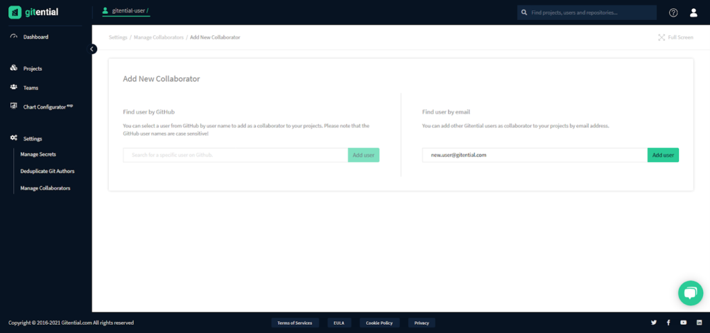 Invite collaborators by email, take a guided tour of our application and look closely at your developers' commits